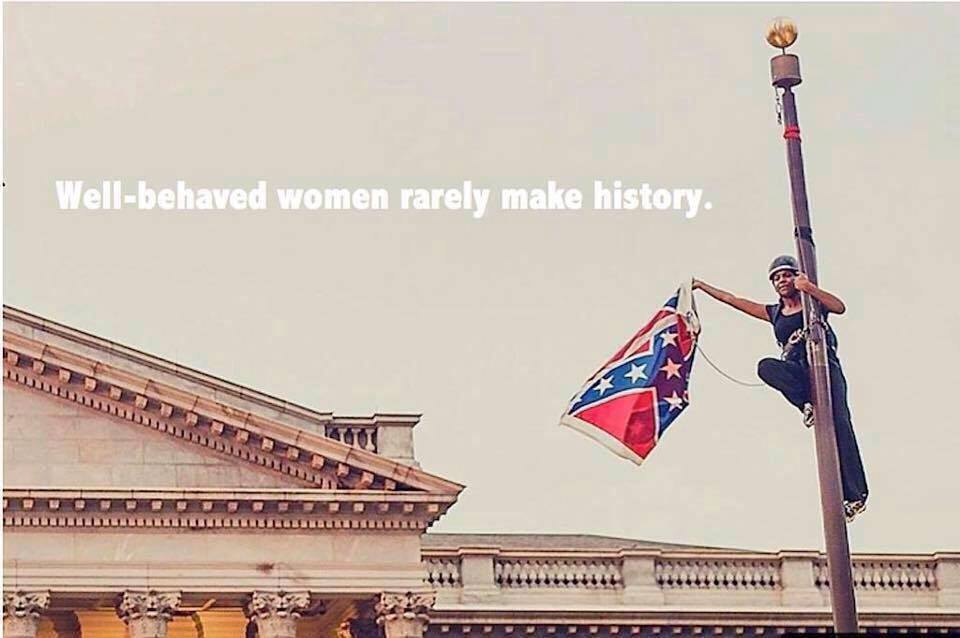 Bree Newsome in her act of civil disobedience